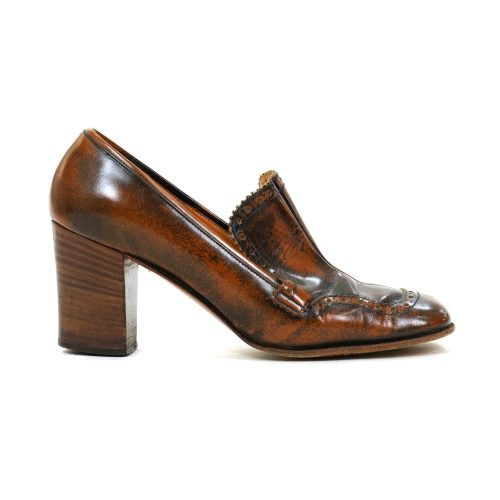 Vintage 60s Mod Custom Made Leather High Heel Wingtip Loafers