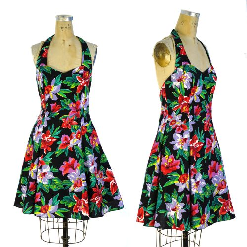 90s Floral Halter Dress with Petticoat