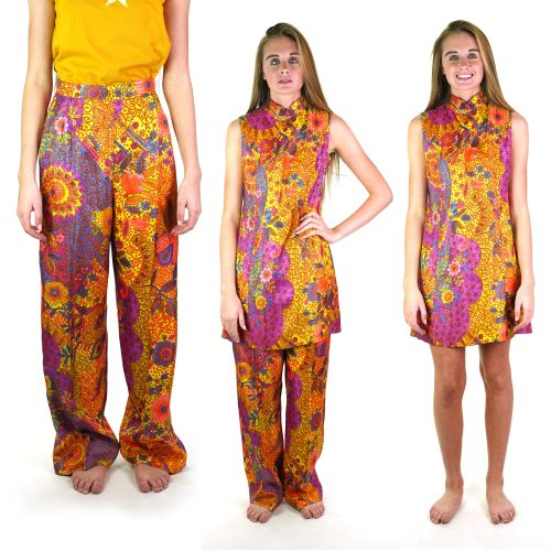 Vintage 60s Bloomingdale's Mod Boho Hippie Dress and Pants Lounge Suit