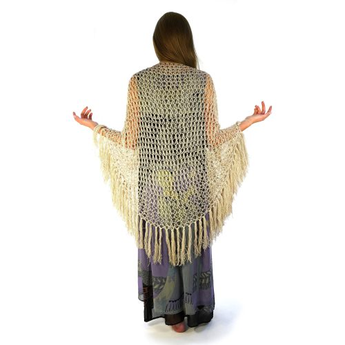 Ecru Crochet Lace Shawl