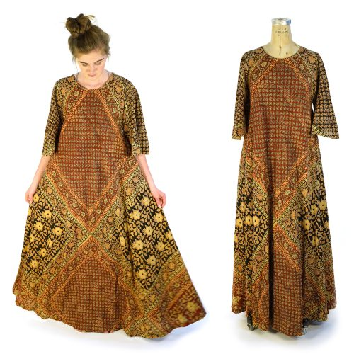 Vintage 70s Block Printed Indian Cotton Caftan Free Size