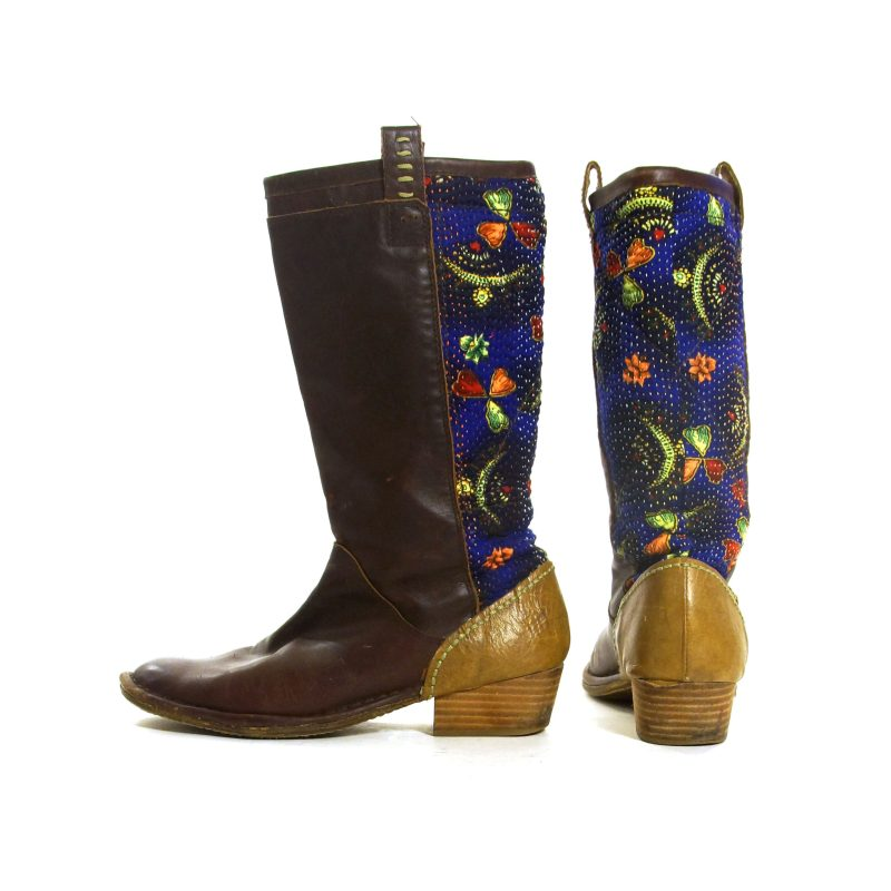 Leather and Quilted Kantha Fabric Riding Boots Size 8.5