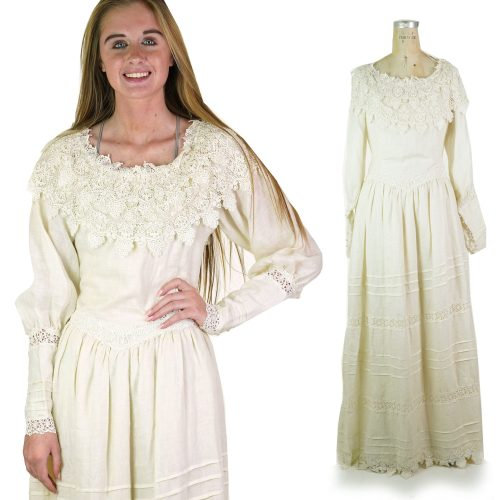 Linen and Lace Edwardian Inspired Vintage 80s Dress or Wedding Gown Women's Size Medium