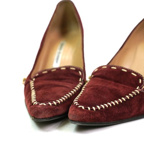 Manolo Blahnik Suede Pumps with Pointy Toes & Stiletto Heels Women's Size 7.5