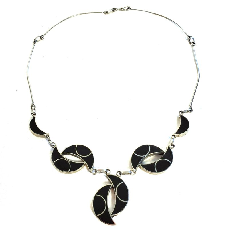 Moon Necklace with Onyx and Mother of Pearl