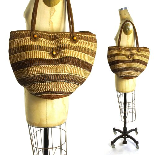 Sisal Bucket Bag with Shoulder Straps