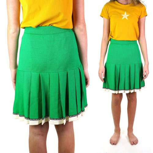 St John Pleated Wool Skirt