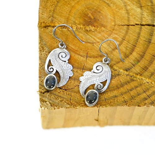 Vintage Sterling Silver & Cats Eye Earrings for Pierced Ears