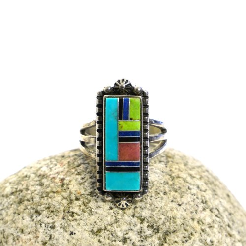 Vintage Sterling Silver & Turquoise Inlay Ring from Desert Rose Trading New Mexico