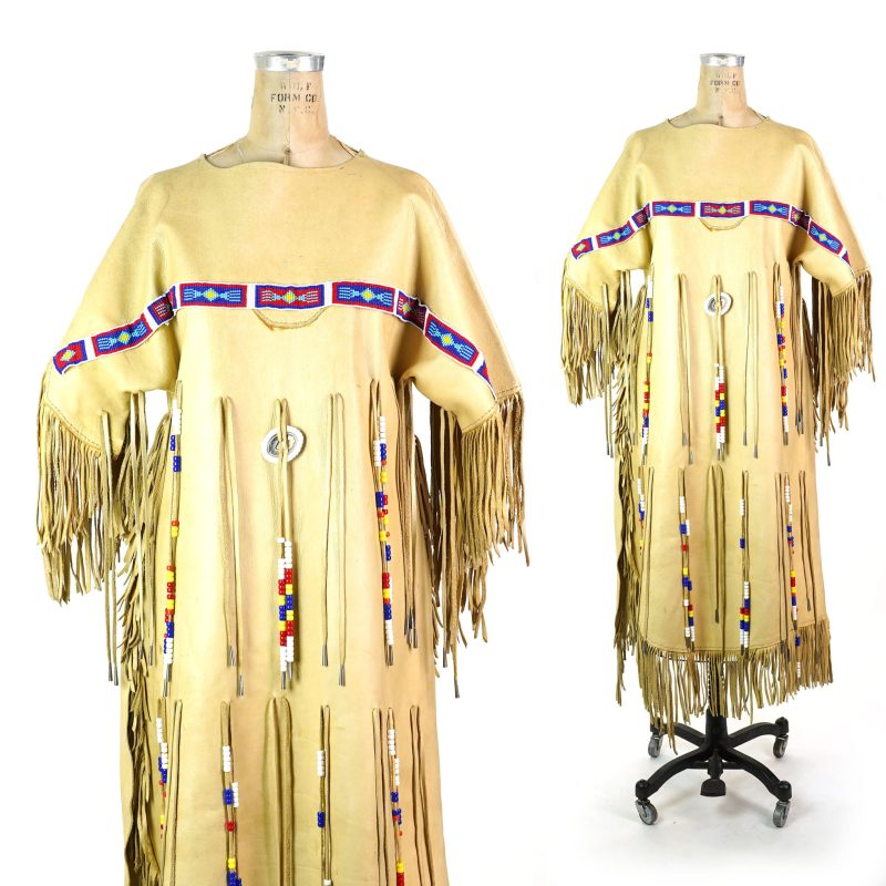 Fringed Leather Native American Style Dress Vintage Handmade
