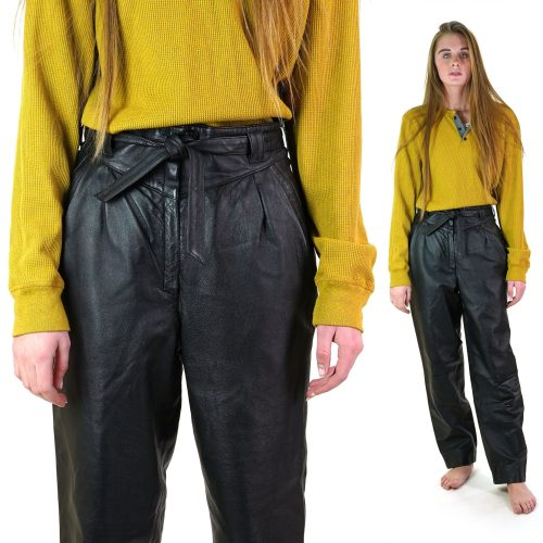 German Black Leather Pleated Pants