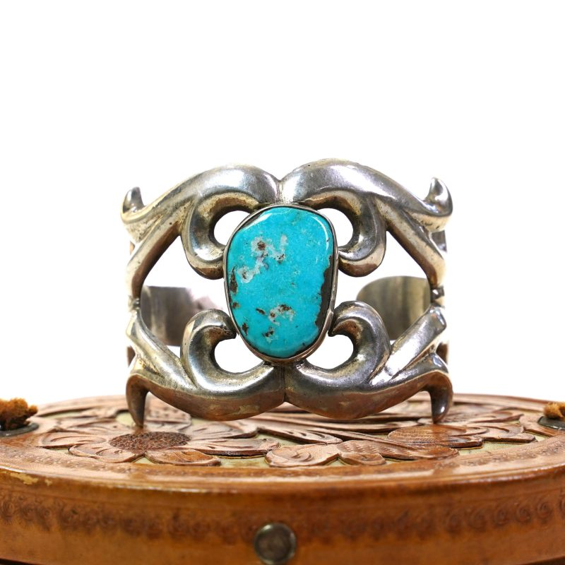 Sand Cast Sterling Silver Cuff with Turquoise