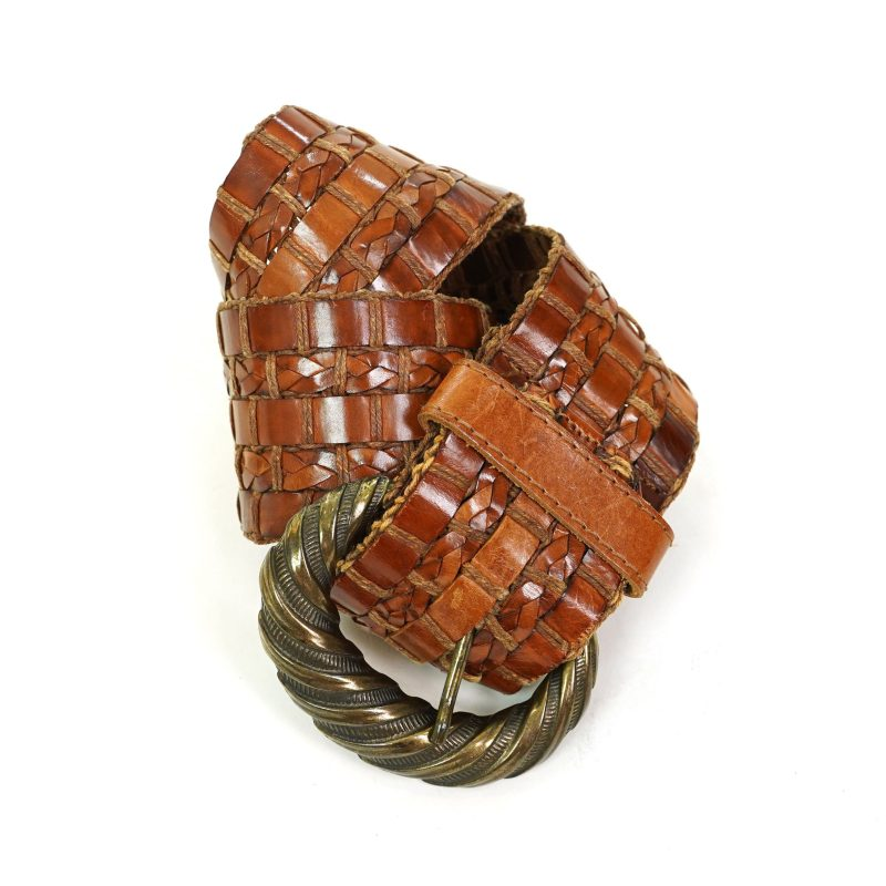 Wide Woven Brown Leather Statement Belt with Brass Buckle Vintage 80s