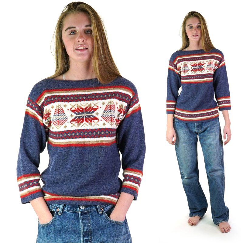Vintage 70s Boatneck Fair Isle Sweater Women's Size Small