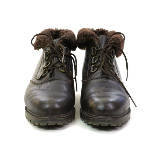 Vintage 90s Canadian Brown Leather Lace Up Ankle Boots with Faux Fur Cuff Women's Size 7.5