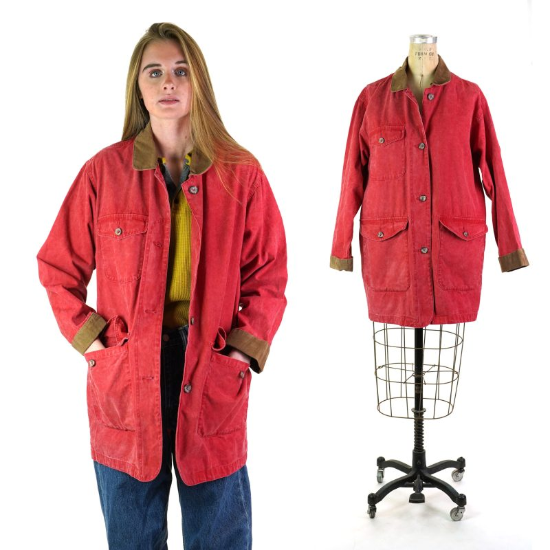 Vintage 90s Corduroy Collar Canvas Field Jacket by Eddie Bauer Women's Small