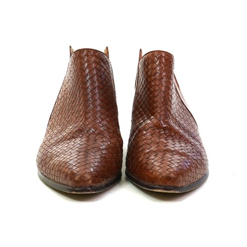 Vintage 90s Woven Leather Winklepicker Ankle Boots Women's Size 8.5
