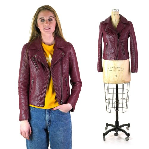 Ann Taylor Burgundy Leather Motorcycle Jacket Size Extra Small