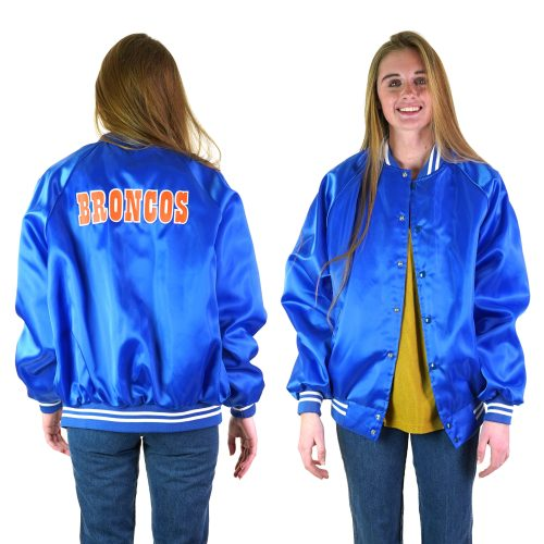 Vintage 80s Denver Broncos Satin Bomber Jacket Made in the USA