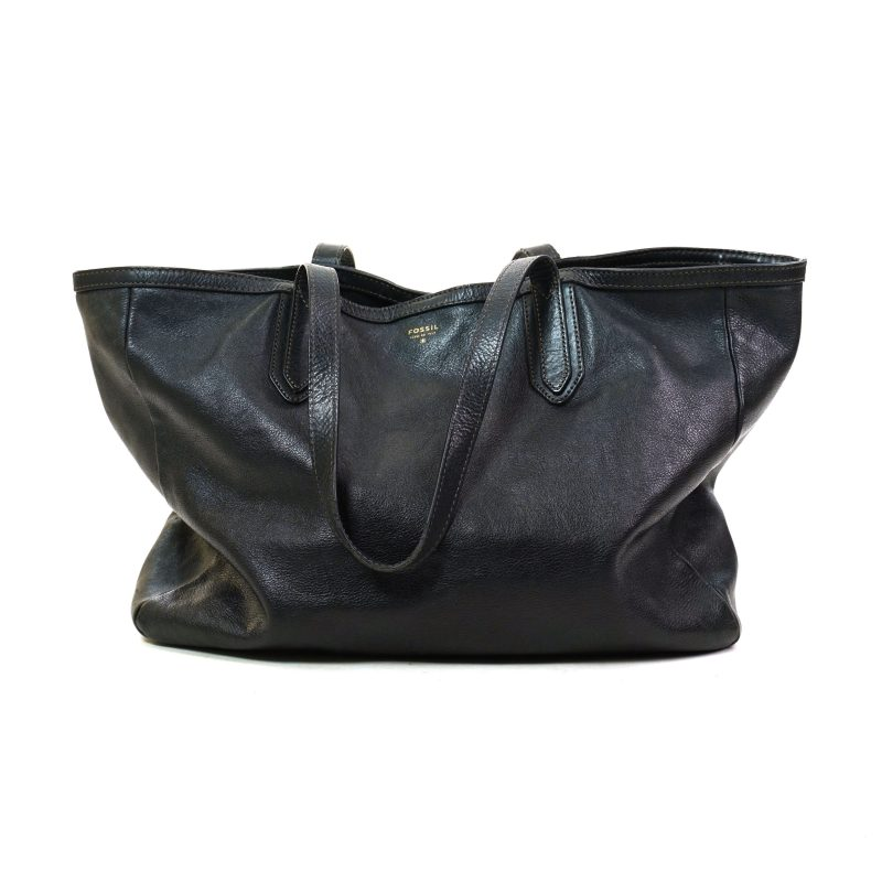 Large Black Leather Fossil Tote Pre Loved