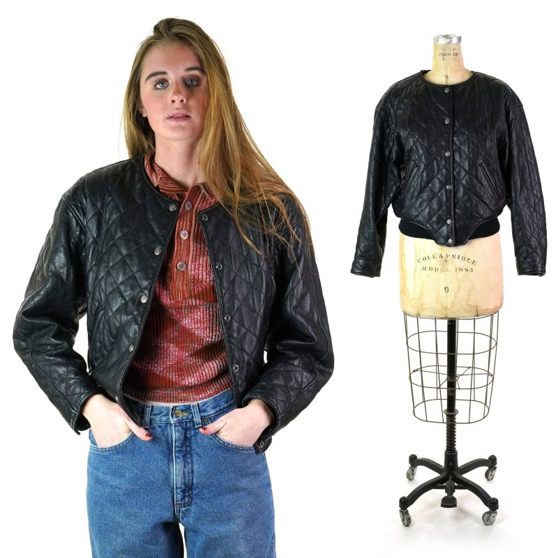 Vintage 90s Quilted Black Leather Jacket by Express with Thinsulate Lining Women's Size Small