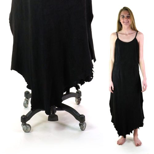 Vintage 90s Suede Maxi Dress with Raw Edge Hem by Osuna Santa Fe New Mexico Women's Size Small