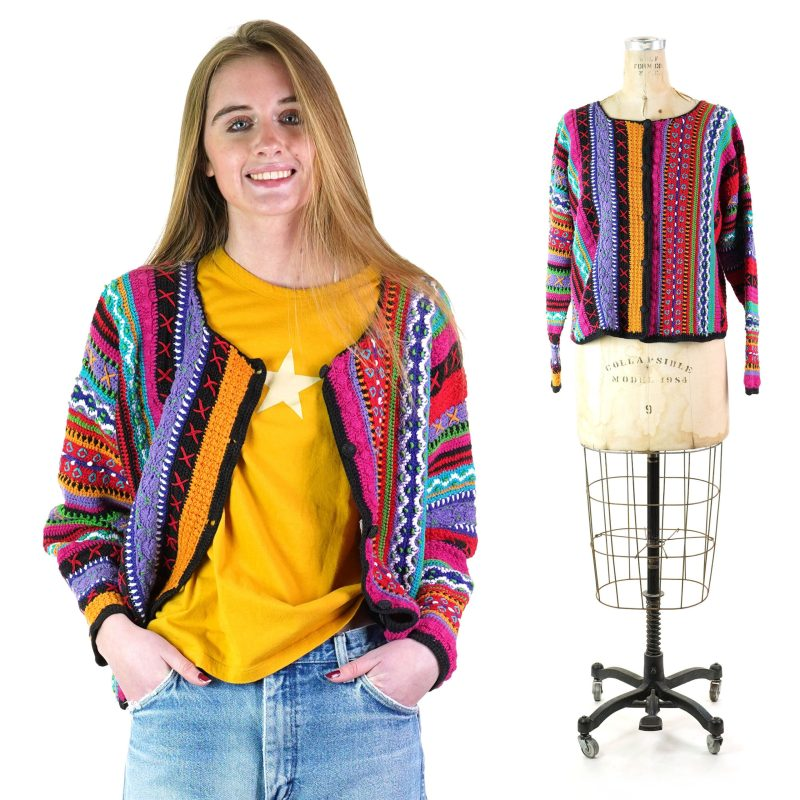Vintage 90s Colorful Hand Knit Cardigan Sweater Women's Size Medium