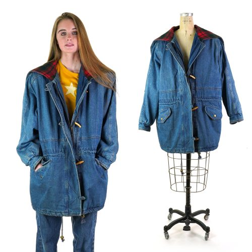 Vintage 90s Lined Denim Field Jacket Women's Extra Large