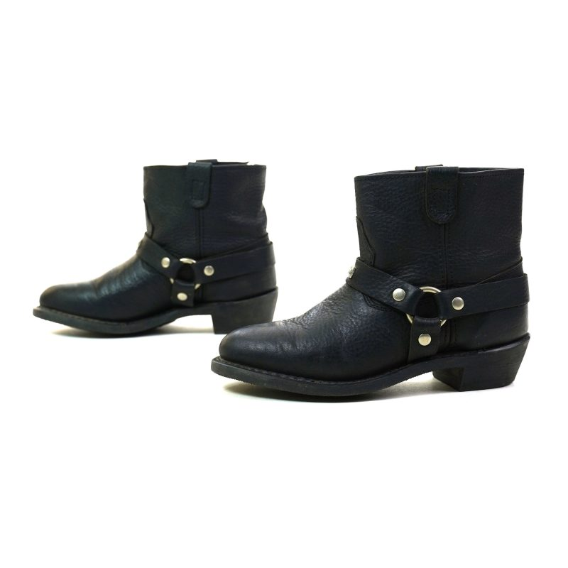 Black Leather Motorcycle Ankle Boots Women's Size 8
