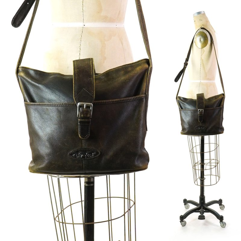 Faded Brown Leather Bucket Bag by Le Donne Vintage 80s