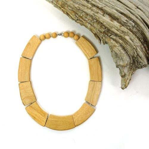 Modernist Wooden Bead Necklace Vintage 80s