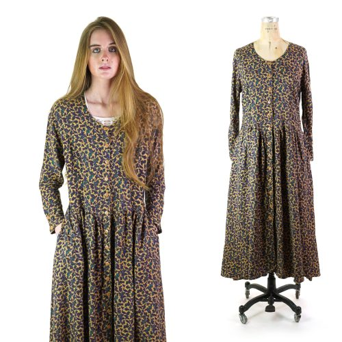 Phool Maxi Length Paisley Rayon Button Down Dress