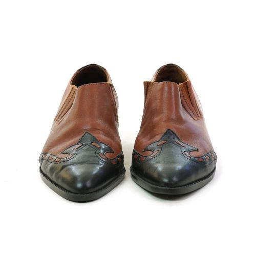 Two Tone Brown Leather Western Ankle Boots Women's Size 10