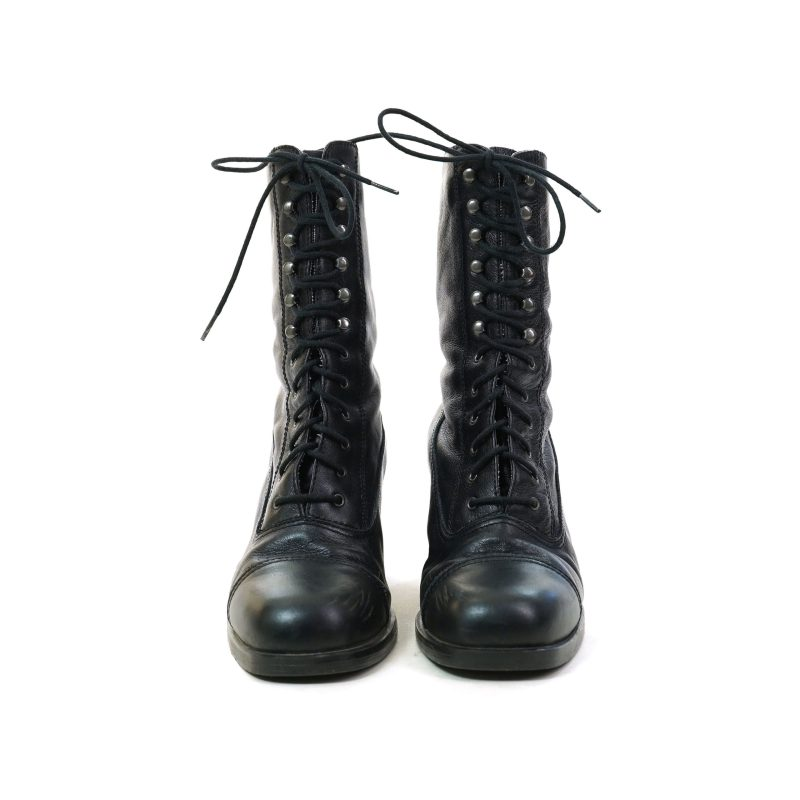 Vintage White Mountain Black Leather Lace Up Tall Ankle Boots Size 9