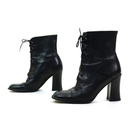 Black Leather Lace Ankle Boots Vintage 90s