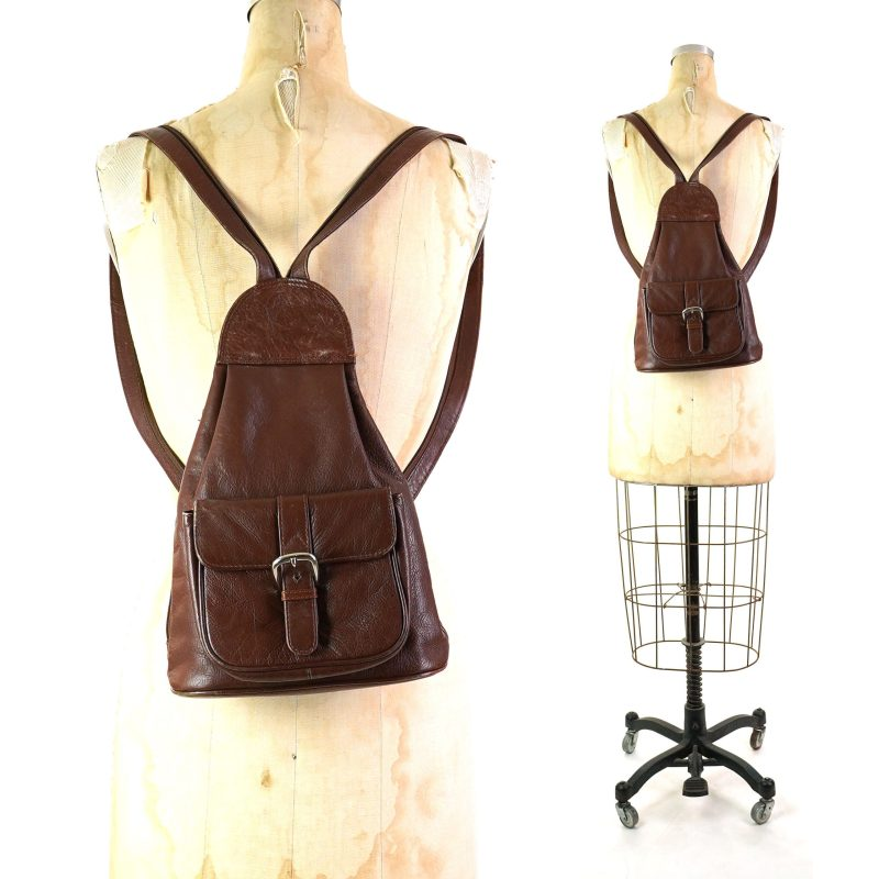 East West Convertible Leather Backpack Vintage 90s