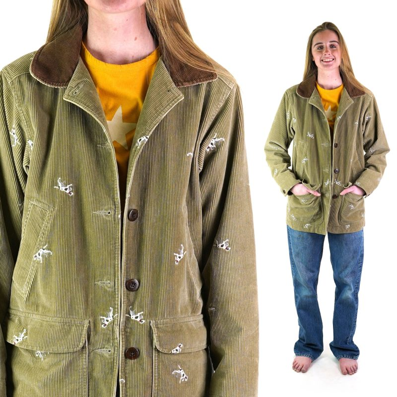 LL Bean Corduroy Chore Coat with Embroidered Dogs Women's Extra Small