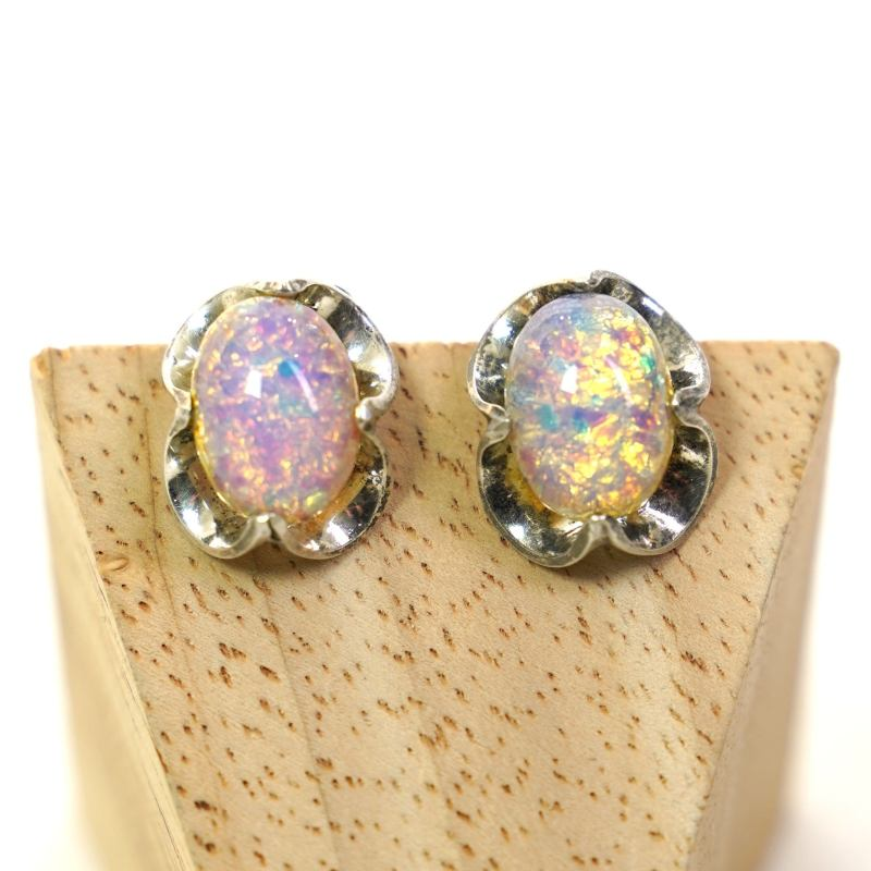 Mexican Silver and Synthetic Opal Earrings for Pierced Ears