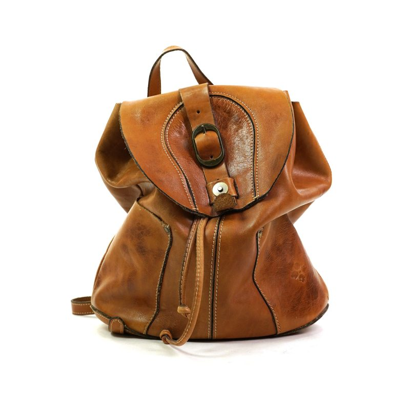 Drawstring Brown Leather Backpack by Patricia Nash
