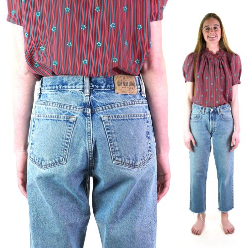 Baggy Fit Raw Hem Vintage 90s Gap Jeans 27 in Waist