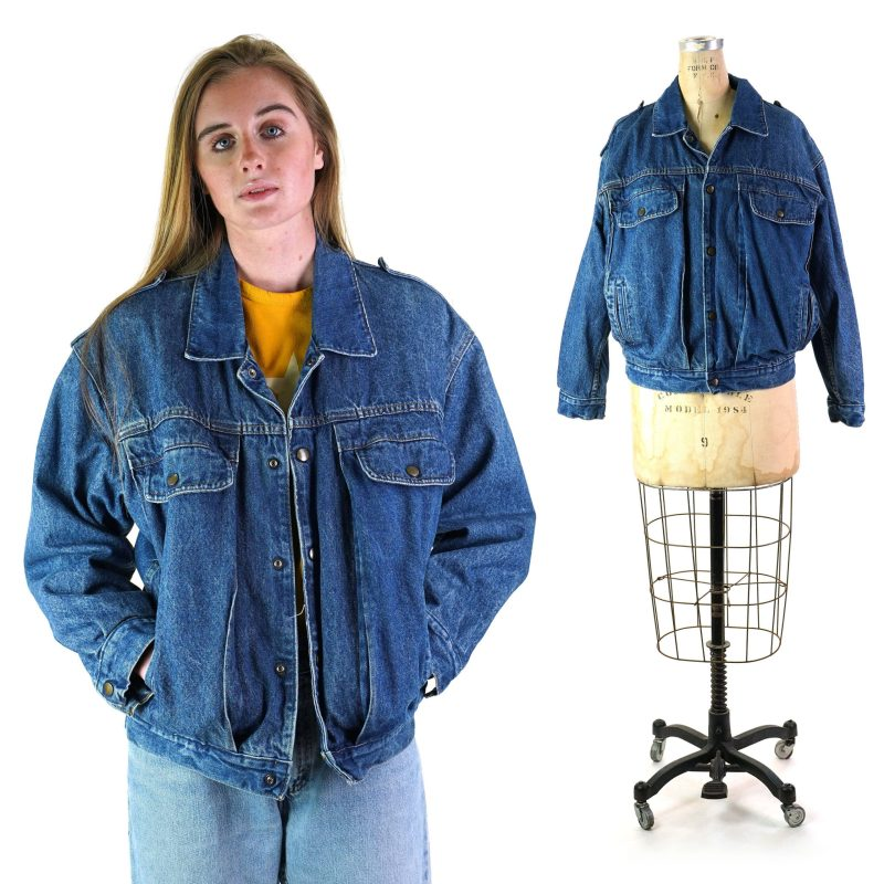 Vintage 80s Pleated Denim Jacket 48 in Chest