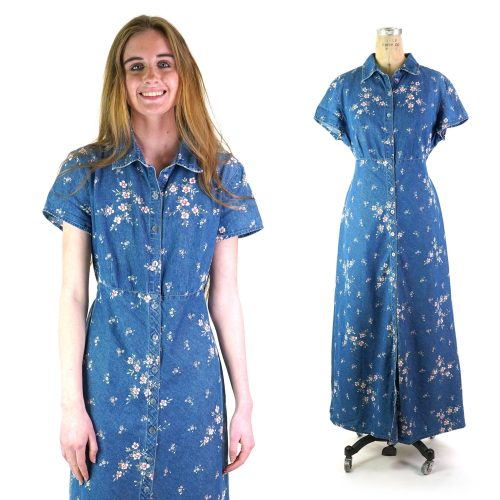 Floral Print Button Down Denim Maxi Dress Vintage 90s