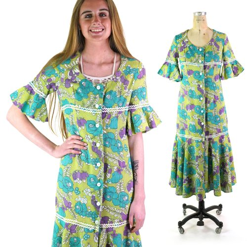 Mod Flower Power Printed Babydoll Dress Vintage 70s Medium