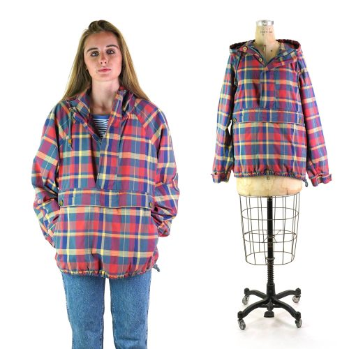 Plaid Pullover Jacket with Hood Vintage 2000s
