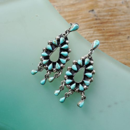 Turquoise and Sterling Needlepoint Earrings