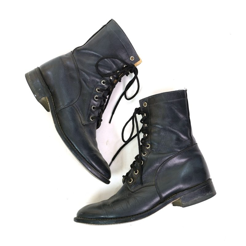 Black Leather Lace Up Packer Ankle Boots