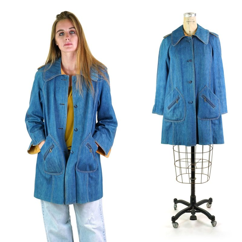Denim Swing Trench Coat with Leather Trim