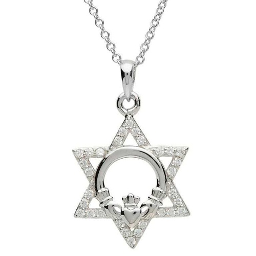 Sterling Silver Stone Set Star of David and Claddagh