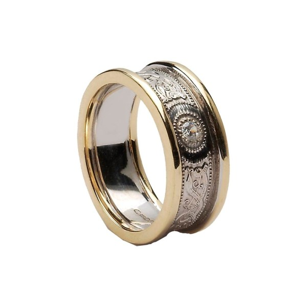 Celtic Warrior Shield 14k White With Yellow Gold Trims