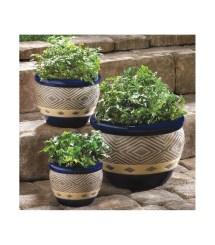 Decorative Outdoor Planters Ceramic Gardening Cobalt